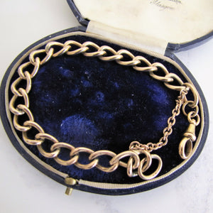 Antique 9ct Rolled Gold Watch Chain Bracelet. Victorian Curb Chain Bracelet, Dog Clip. - MercyMadge