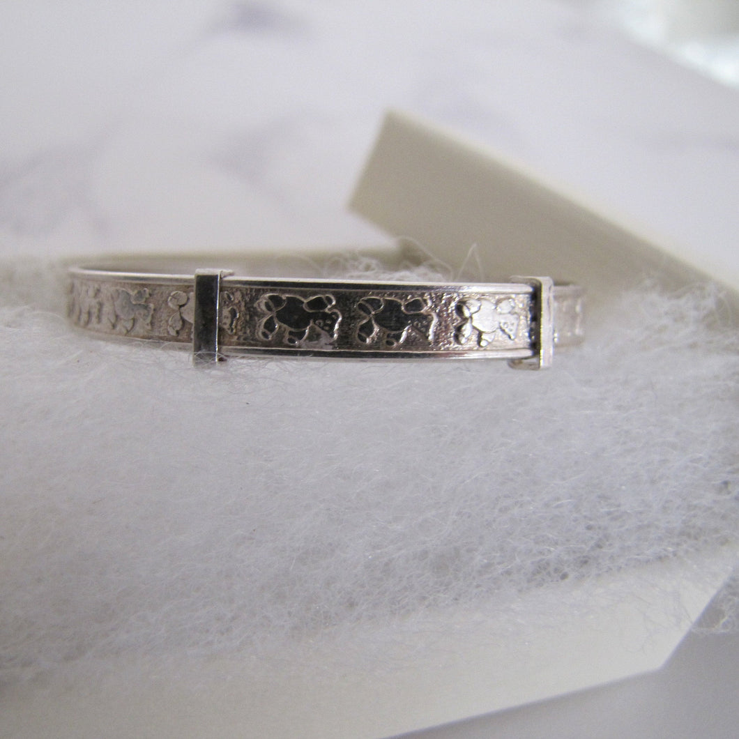 Child's Vintage Silver Bracelet, Engraved Teddy Bears, Expanding, Adjustable. - MercyMadge
