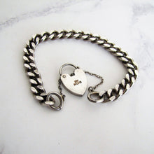 Load image into Gallery viewer, Vintage Sterling Silver Curb Chain Bracelet, Heart Padlock Clasp. - MercyMadge