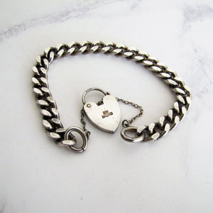 Vintage Sterling Silver Curb Chain Bracelet, Heart Padlock Clasp. - MercyMadge