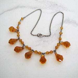 Antique Art Deco Citrine Necklace, Czechoslovakia - MercyMadge
