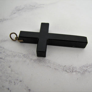 Victorian Gold Pique Mourning Cross Pendant - MercyMadge
