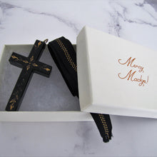 画像をギャラリービューアに読み込む, Victorian Gold Pique Mourning Cross Pendant - MercyMadge