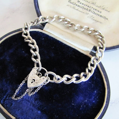 Sterling Silver Curb Chain Bracelet, Engraved Heart Padlock Clasp - MercyMadge