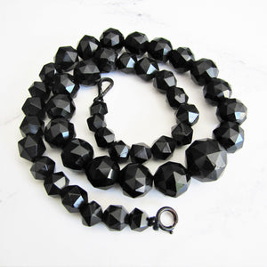 Victorian Whitby Jet Bead  Necklace. - MercyMadge