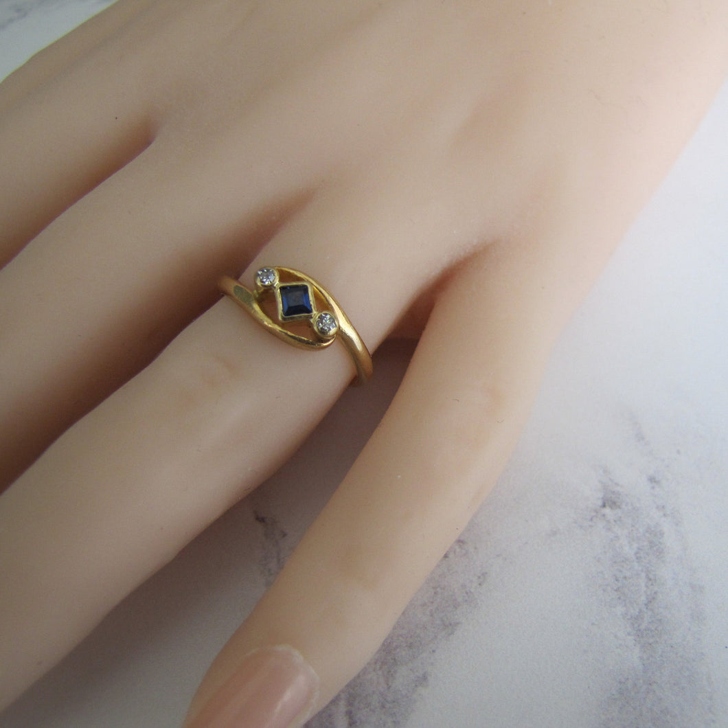 Art Deco 18ct Gold, Diamond & Sapphire Engagement Ring. - Mercy Madge