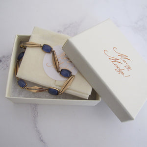 Antique Blue Moonstone Bracelet, 9ct Gold - MercyMadge