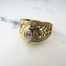 Load image into Gallery viewer, 14ct Gold & Diamond Wide Band Ring - MercyMadge