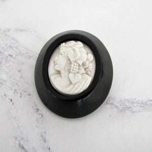 Victorian Carved Whitby Jet & Coral Cameo Brooch. - MercyMadge