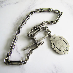 Victorian Scottish Silver Pocket Watch Chain, Highland Fob. - MercyMadge