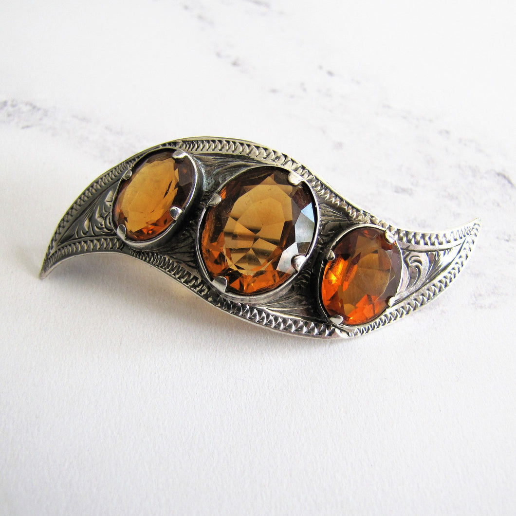 Victorian Scottish Silver Cairngorm Citrine Brooch. - MercyMadge