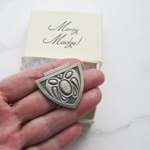 Load image into Gallery viewer, Art Nouveau Silver Shield Brooch, Stylised Moth - MercyMadge