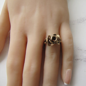 Vintage 9ct Gold English Rose Ring. Hallmarked London 1979. - MercyMadge