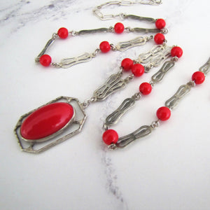 Edwardian Simulated Red Coral Pendant Necklace, Sterling Silver - MercyMadge