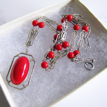 画像をギャラリービューアに読み込む, Antique Red Coral Glass Lavalier Pendant Necklace, Sterling Silver - MercyMadge