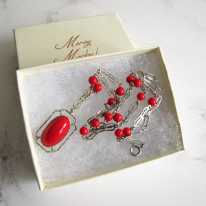 Antique Red Coral Glass Lavalier Pendant Necklace, Sterling Silver - MercyMadge