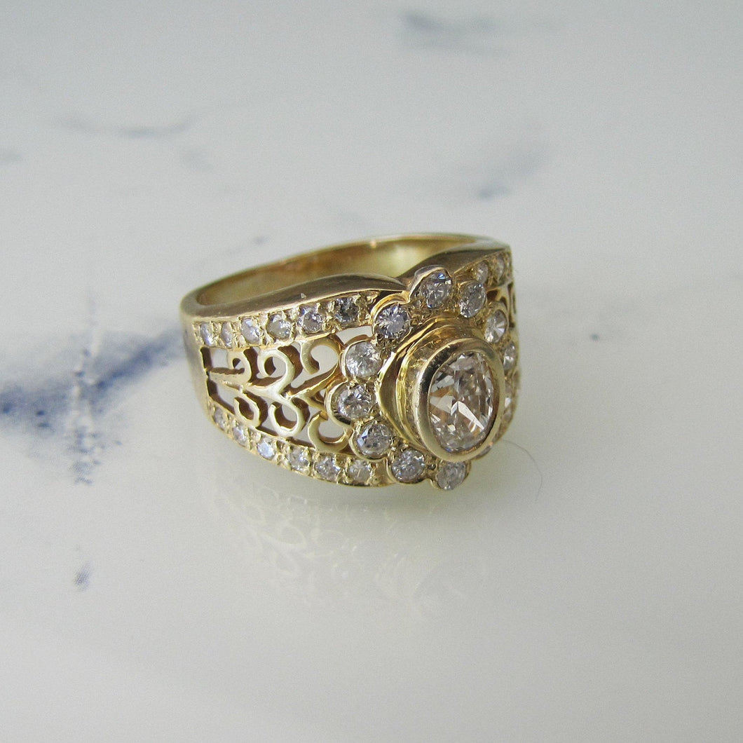 14ct Gold & Diamond Wide Band Ring - MercyMadge