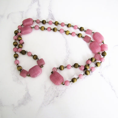 Czech Art Deco Long Rose Quartz Necklace, Chinoiserie Pressed Glass Beads. - MercyMadge