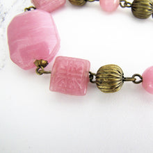 Load image into Gallery viewer, Czech Art Deco Long Rose Quartz Necklace, Chinoiserie Pressed Glass Beads. - MercyMadge