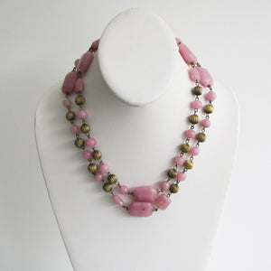 Czech Art Deco Long Rose Quartz Necklace, Chinoiserie Pressed Glass Beads. - Mercy Madge
