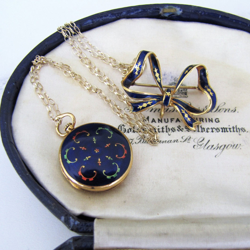 Vintage 18ct Gold Blue Enamel Locket With Detachable Bow Brooch. - MercyMadge