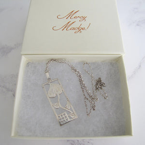 Charles Rennie Mackintosh Silver Tulip Pendant Necklace, Edinburgh - MercyMadge