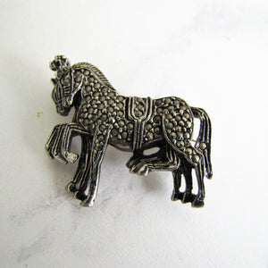 Vintage Silver Marcasite Brooch, 3 Circus Horses. - MercyMadge