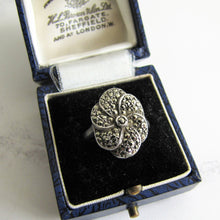 Load image into Gallery viewer, Art Deco Silver Marcasite Flower Ring. - Mercy Madge