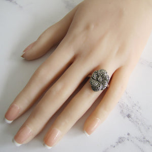 Art Deco Silver Marcasite Flower Ring. - Mercy Madge