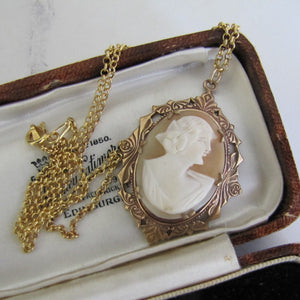 Antique Cameo Pendant Necklace. Rose Gold Edwardian Cameo Pendant On Chain. - MercyMadge