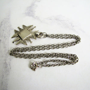 Vintage Engraved Silver Maltese Cross Fob Pendant On Chain. - Mercy Madge