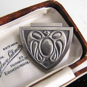 Art Nouveau Silver Shield Brooch, Stylised Moth - Mercy Madge