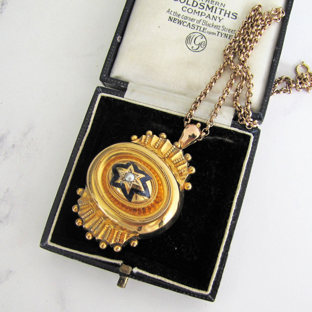 Victorian 15ct Gold Target Necklace Pendant, Locket Back - MercyMadge