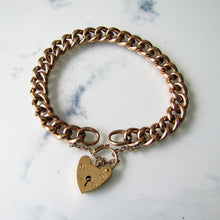 Load image into Gallery viewer, Victorian Solid 9ct Gold Curb Chain Bracelet, Heart Padlock Clasp - MercyMadge