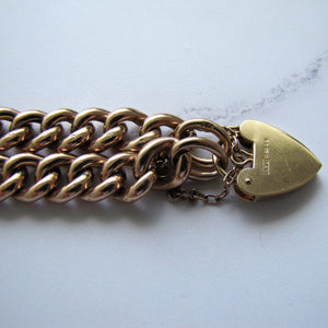 Victorian Solid 9ct Gold Curb Chain Bracelet, Heart Padlock Clasp - MercyMadge