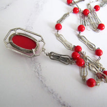 Load image into Gallery viewer, Edwardian Simulated Red Coral Pendant Necklace, Sterling Silver - MercyMadge