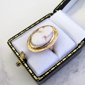 Antique 18ct Gold Coral Cameo Ring - Mercy Madge
