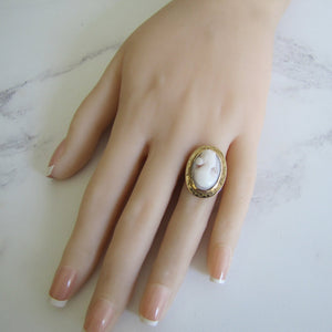 Antique 18ct Gold Coral Cameo Ring - MercyMadge