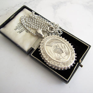 Victorian Aesthetic Engraved Silver Locket Necklace - MercyMadge