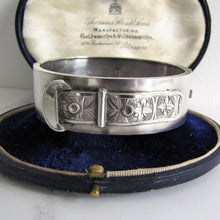 Load image into Gallery viewer, Victorian Engraved Silver Buckle Bangle Bracelet, Birmingham 1882. - MercyMadge