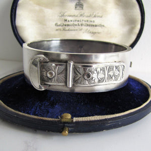 Victorian Engraved Silver Buckle Bangle Bracelet, Birmingham 1882. - MercyMadge