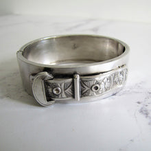Load image into Gallery viewer, Victorian Engraved Silver Buckle Bracelet, 1882. - MercyMadge