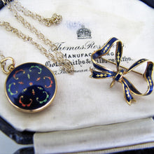 Load image into Gallery viewer, Vintage 18ct Gold Blue Enamel Locket With Detachable Bow Brooch. - MercyMadge