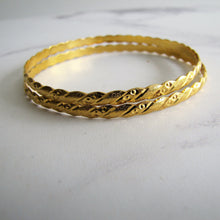 Load image into Gallery viewer, Pair Of 22K Gold Etruscan Engraved Bangles. - MercyMadge