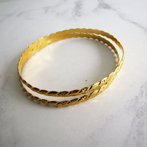 22 Carat Yellow Gold Etruscan Engraved Bangles. - MercyMadge