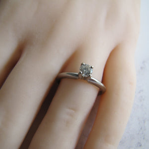 Vintage 1/4 Carat Diamond Solitaire Ring, 14ct White Gold - MercyMadge