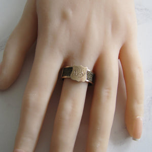 Victorian 9ct Gold Woven Hair Signet Ring, Chester 1888 - MercyMadge