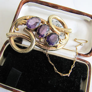 Victorian Gold Love Knot Brooch, Engraved Forget-Me-Nots, Paste Amethysts - Mercy Madge