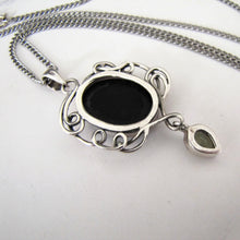 Load image into Gallery viewer, Vintage Whitby Jet Sterling Silver Pendant Necklace. - MercyMadge