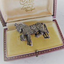 Load image into Gallery viewer, Vintage Silver Marcasite Brooch, 3 Circus Horses. - Mercy Madge
